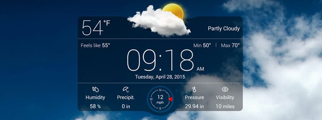 Погода на экране телефона Андроид