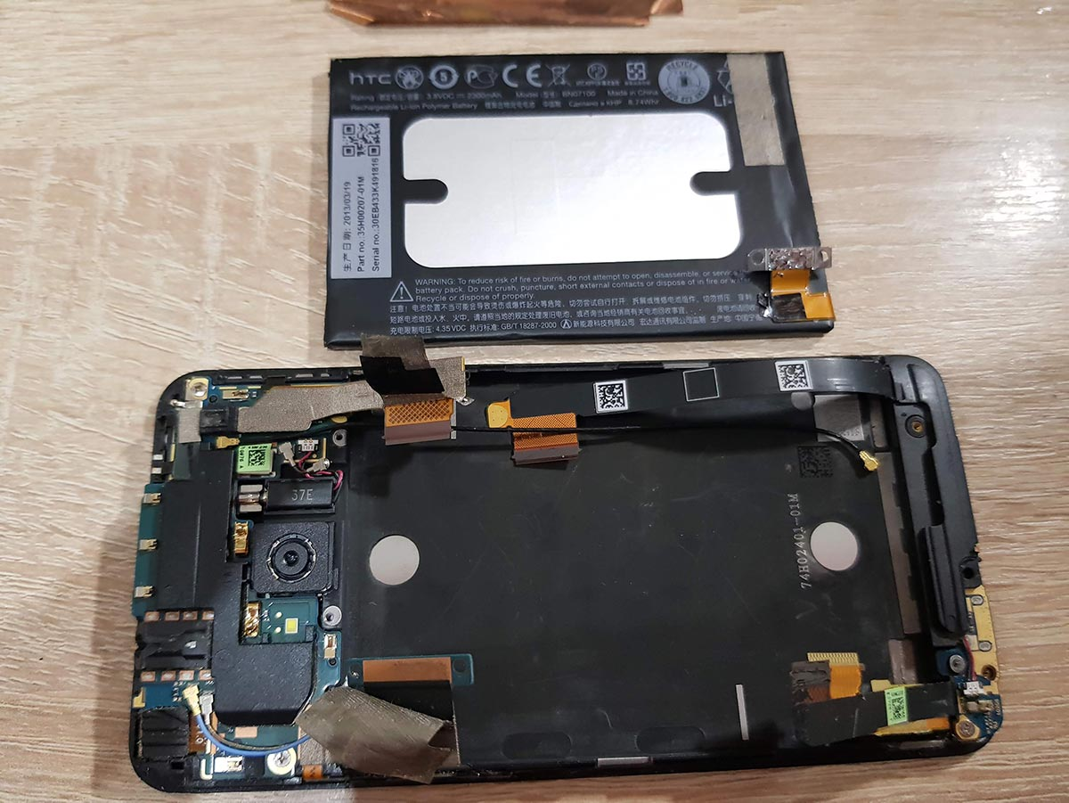 Замена аккумулятора HTC One