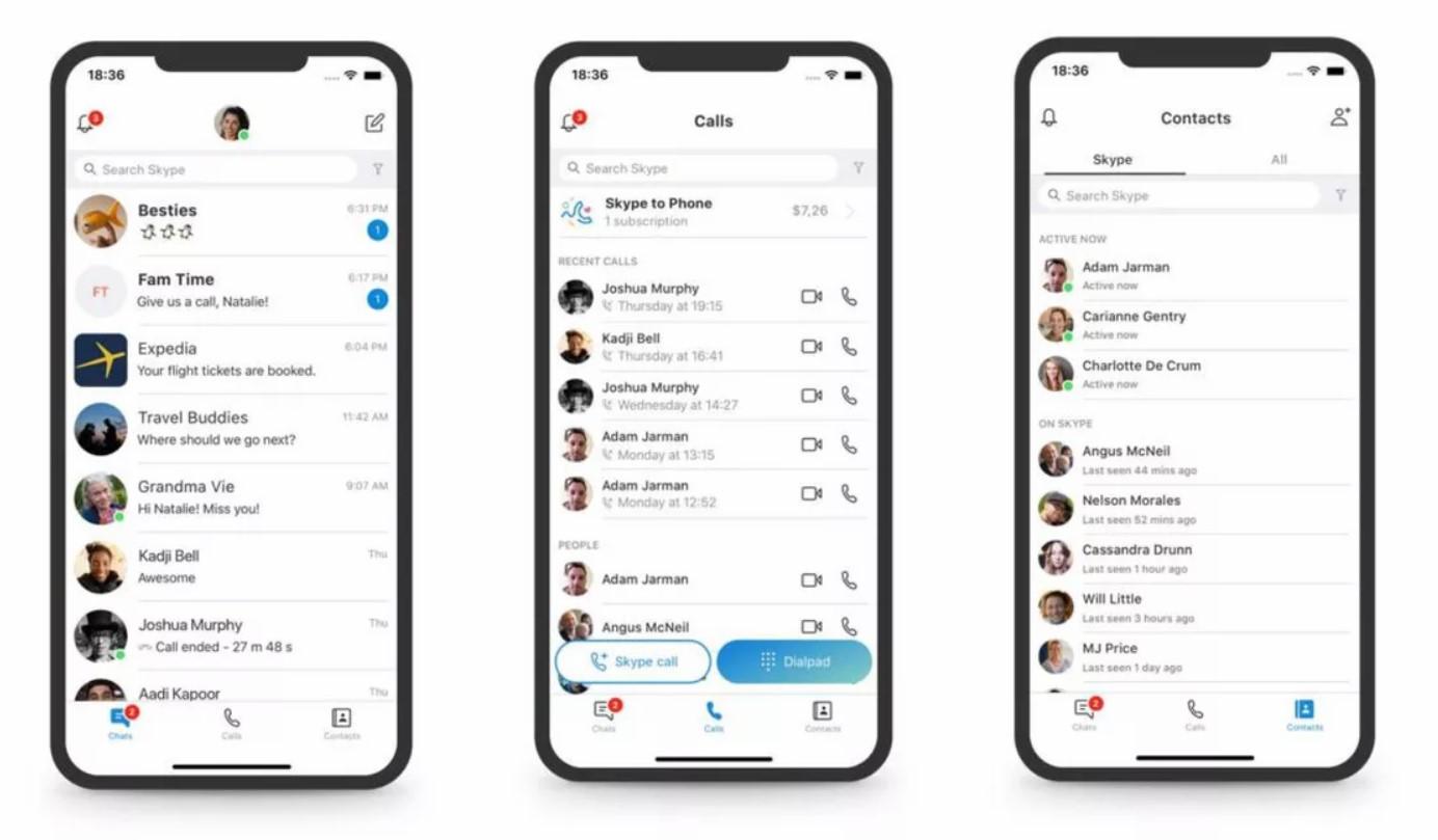 Новый интерфейс Skype
